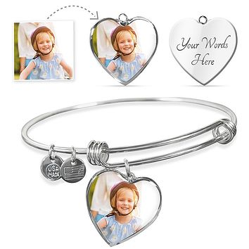 Personalized Photo Of Your Daughter Son Bangle - Mother's Day Gift With Personal Picture + Personalized Engraving