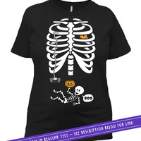 Halloween Baby Announcement Pregnancy Reveal Skeleton T Shirt Maternity Shirt Pregnant Mom Gifts For Her Expectant Mother Ladies Tee MAT-20