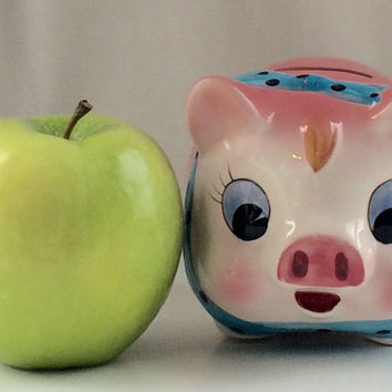 Mid Century Pink Ceramic Piggy Bank/ Newborn Gift / Baby gift / Gift for Girl / Mid Century Piggy Bank