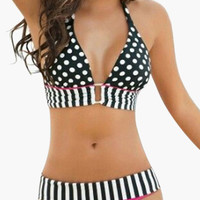 Black and Pink Striped Polka Dot Bikini
