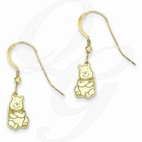 Gold-Plated SS Disney Winnie The Pooh Dangle Wire Earrings