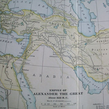 antique map of the Ancient World . antique map of Arabia . March of Alexander the Great 323 B.C. map ephemera . book plates