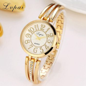 Lvpai Brand Fashion Ladies Luxury Watch Casual Women Business Quartz Wristwatch Clock Luxury Womens Gold Dress Watch