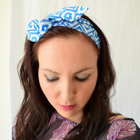 Wire Twist Dolly Bow Headband, Hippie Bandana Headband, Fabric Wrap Headscarf, Tribal print Headband, Boho Hair Wrap