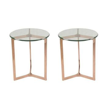 San Clemente Side Table Set of 2 ROSE GOLD - CLEARANCE