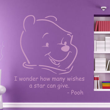 Wall Decals Vinyl Decal Winnie the Pooh Quote I Wonder Many Wishes... Cartoon Home Vinyl Decal Sticker Kids Nursery Baby Room Decor kk77