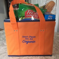 Don't Panic It's All Organic Reusable Grocery Shopping Bag Box Tote Large Capacity Heavy Duty Collapsible Reinforced Bottoms Eco-Friendly Foldable Grocery Totes