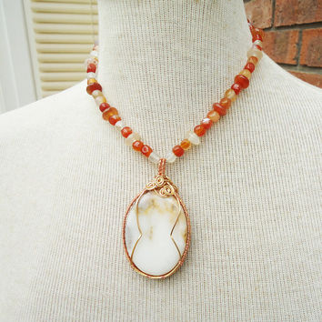 Carnelian Necklace, Carnelian Necklace with Chunky Wire Wrapped Pendant, Wire Wrapped Pendant, Wire Wrapped Necklace, Orange Necklace