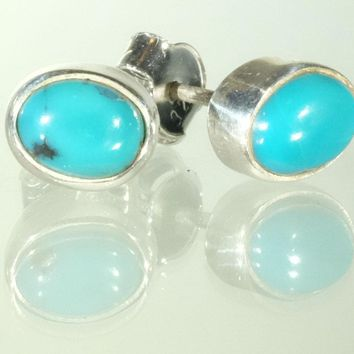 Oval Sterling Silver Turquoise Stud Earrings