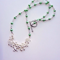 Mint Green and White Pearl Necklace with Bird Detail