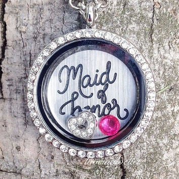 Maid of Honor Locket, Maid of Honor Necklace, Maid of Honor Jewelry, Maid of Honor Gift, Floating Locket, Wedding Jewelry, Wedding Locket