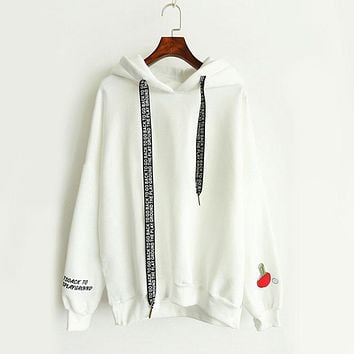Hoodie With Hood Kawaii Cashmere Women Hoodies Cute Pattern Embroidered Letter Drawstring Harajuku Street Thick Sweet Pullovers