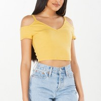 Ribbed Crop Top in Yellow