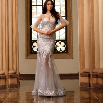 Formal Mermaid Evening Dresses Sexy Sweetheart Silver Tulle Appliques Simple Long Prom Party Gowns