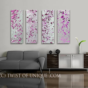 Radiant Orchid and Silver Abstract Paintings, - 4 panel CUSTOM Metal Wall Art, Lava lamp, - silver, metal, fuschia, Pink, Purple, melted