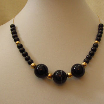 "14k Gold Sardonyx, AAA Black Spinel & 14k Gold Beads Necklace 16"". 22.08g"