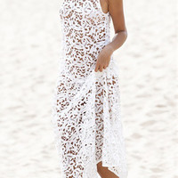 White Sleeveless Deep V- Back Sheer Lace Crochet Maxi Dress