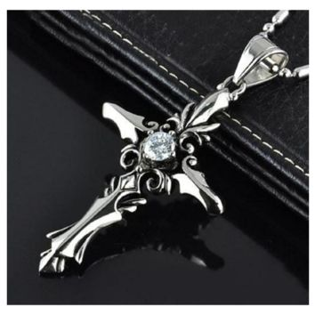 Fashion Collar Vintage Sacred Heart Cross Men Pendant Necklace