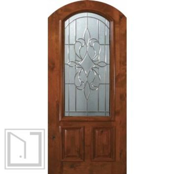 Slab Single Door 80 Wood Alder New Orleans Arch Top Arch Lite Glass