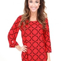 Ooh La La Red and Black Quatrefoil Blouse | Monday Dress Boutique