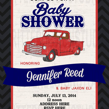 Old Vintage Truck Baby Shower Invitation - Printable/Digital File