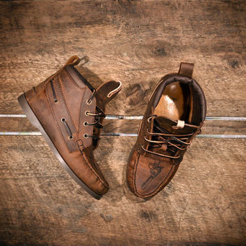 Handcrafted HIGHTOP Leather Boat Shoes - Distressed Oiled Brown Cowhide & etched pistols - MADE to ORDER