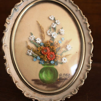 Vintage Framed Pressed Flowers and Painting- Signed Betty Mc Dill.