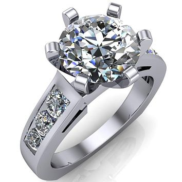 Calvin Round Moissanite 6 Prong Diamond Shoulders Cathedral Engagement Ring