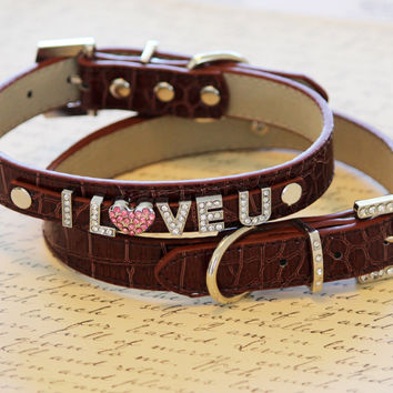 Brown dog Leather, I love you with a heart Charm, I LOVE You, Cute Gift