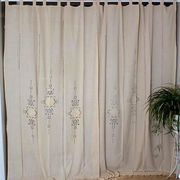 Linen Hollow Solid Curtain Handmade Crochet