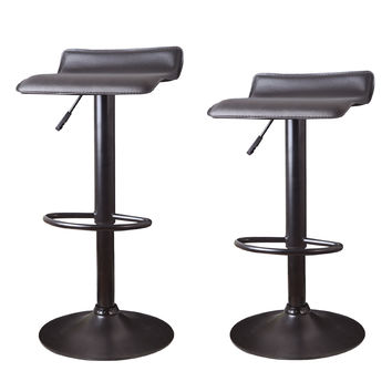 Adeco Brown Hydraulic Lift Cushioned Adjustable Barstool, Micro Back Vinyl Covered, Chrome Finish Pedestal Base (Set of two)