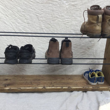 Shoe Rack, Rustic Shoe Rack, Handmade, Wood Shoe Rack, Handmade Shoe Rack, Wood and Steel, Reclaimed Wood, Shoe Storage