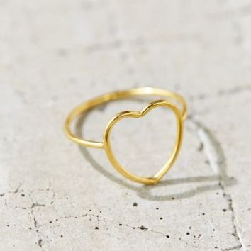 18k + Sterling Silver Delicate Open Heart