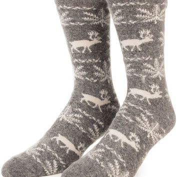 The Prancer Crew Socks in Gray Heather