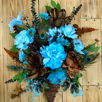 "Fall Floral Arrangement, Twig Basket  - ""Turquoise Temptation"", Silk Floral Decor, Door Decor, Home Decor, Wreath, Floral Basket"