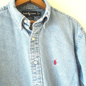 Vintage 90s RALPH LAUREN POLO Embroidered Denim Chambray Button Down Blake Shirt Sz M