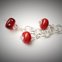 Christmas Beaded Keychain, Holiday Purse Jewelry, Purse Keychain, Valentine Red, Lampwork Glass