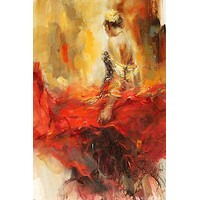 BEAUTIFUL COLORFUL WOMAN IN MOTION ALEGRIA PAINTING poster poetic 24X36