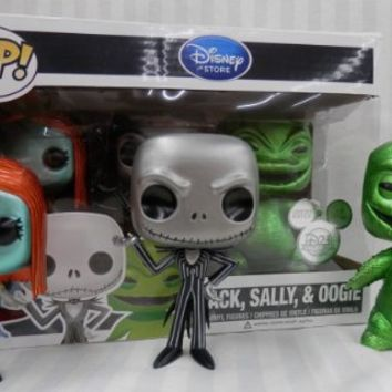 Funko Pop Disney D23 Jack Skellington, Sally, & Oogie Boogie Nightmare Before Christmas Metallic 3 Pc Vinyl Figure Set