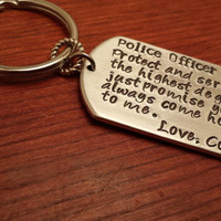 Personalized dog tag key chain police/state trooper
