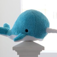 Blue narwhal plush toy- Elodie- soft fluffy fleece whale, Christmas