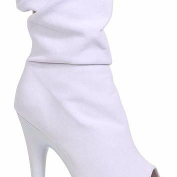 White Slouch Ankle Boots With 6 Inch Heel-Stripper Boots