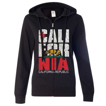 California Republic Vintage Retro Ladies Zip-Up Hoodie