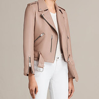 ALLSAINTS UK: Womens Balfern Leather Biker Jacket (BLUSH PINK)