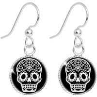 Black White Sugar Skull Art Circle Dangle Earrings | Body Candy Body Jewelry