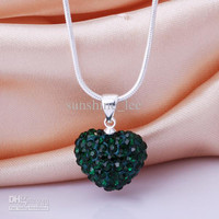 Best Gift Shamballa jewelry 14MM Deep Green Clay Heart Crystal Bead Pendant Necklace 925 Silver Jewelry