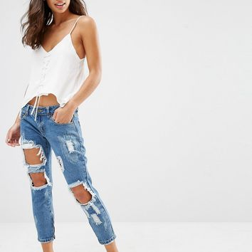 Liquor & Poker Petite Skinny Jeans With Extreme Distressing Ripped Knees