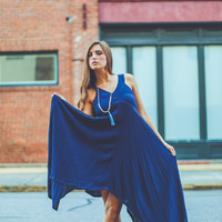 Asymmetrical Hem Gameday Dress in Navy