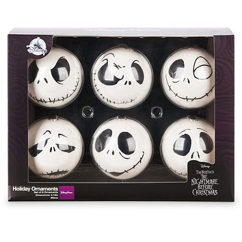 Disney Parks Decoupaged Jack Skellington Ball Holiday Ornaments New with Box