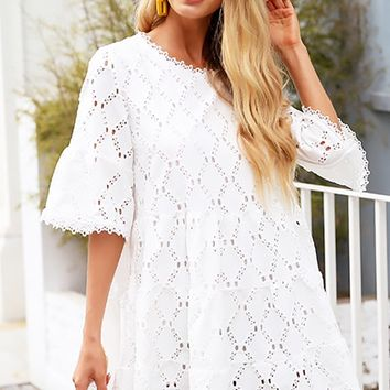 Sitting Pretty White Lace Short Sleeve Crew Neck Empire Waist A Line Flare Casual Mini Dress